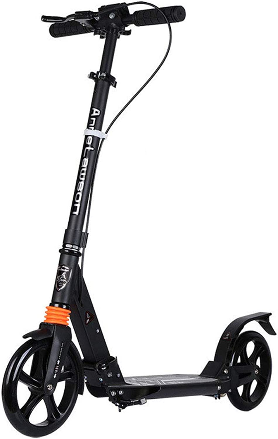 Foldable Kick Scooter for Adults Teens, Oversized Wheels 200mm Scooter with Hand Brake Commuter Scooters for Kids, City Scooters Support 100kg(220lbs), Black