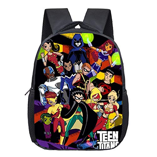 Teen Titans Go Casual Backpack Simple Style Children Backpacks for Boys and Girls Cartoon Safety Anti-Lost Strap Rucksack Unisex (Color : A16, Size : 24 X 10 X 30cm)