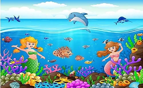 Photo Mural Wallpaper Cartoon Little Mermaid Underwater World Series Decorativo Nursery Wall Pintura decorativa-About_430 * 300cm_3_stripes