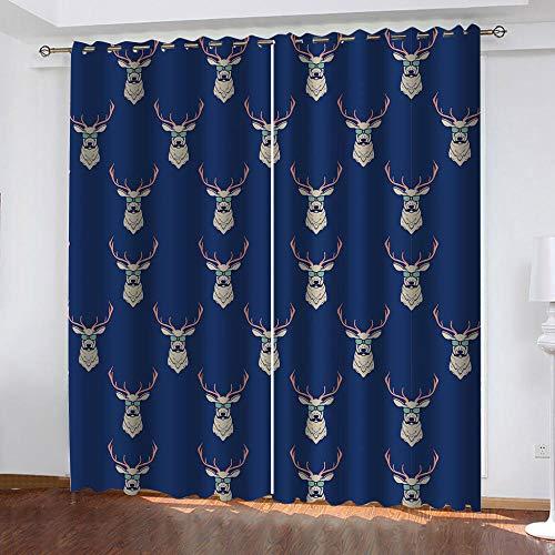 BHOMLY - Curtains For Bedroom Eyelet - 3D Digital Printing - Blue animal elk creative 52.5x152cm 2 Panels - Bedroom - Living Room Nursery - Eyelet Curtains - Curtains Blackout