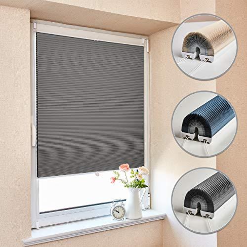 Atlaz Wabenplissee Verdunklung Thermo Zweifarbig 85x130cm Waben Plissee ohne Bohren mit Klemmträger für Fenster und Tür Sichtschutz und Sonnenschutz Weiß-Grau