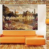 Pintura sin Marco Estilo Europeo Retro Arquitectura Pintura al óleo Mural en Paisaje Lienzo Arte Lago jardín Barco Sala de Estar sofáCGQ5153 60X90cm