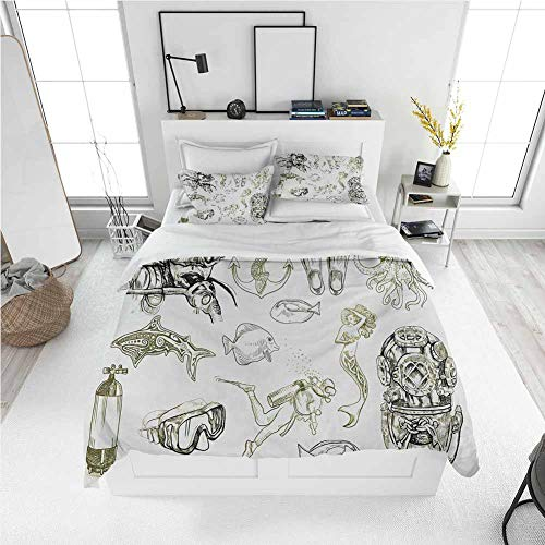 Diving King Size Sheet Set-3 Piece Set, Bedding Set All Season Quilt Set The Life of Aquatic Themed Marine Mermaid Snorkeling Octopus Sketchy Design with Ultra Soft and Breathable Comforter Cover