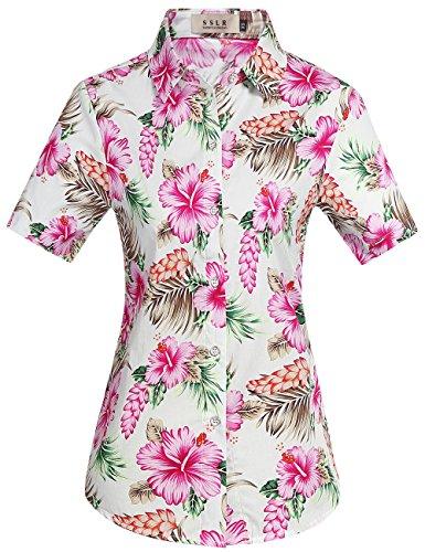 SSLR Donna Camicia Blusa Hawaiana Aloha Manica Corta Casual Button Down (Small, Rosa)