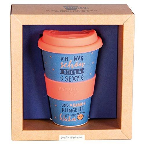Grafik Werkstatt Deckel | Kaffee-Becher | Coffee 400 ml | -to-go | Schön, reich, sexy, Mehrfarbig, 9 x 9.5 x 14 cm