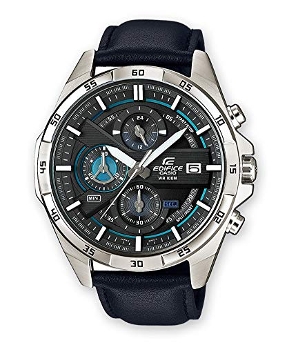 Casio EDIFICE Reloj en caja sólida de acero inoxidable, 10 BAR, Azul/Negro, para Hombre, con Correa de Cuero, EFR-556L-1AVUEF