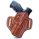 Premium The Ultimate Leather OWB Pancake Holster with Open Top Fits, HK USP, HK VP9 HK P2000 HK P30 P30L HK P7 M8 HK 45 HK 45C, Right Hand Draw, Brown Color (HK USP Full Size 9mm 40/45) #1022#