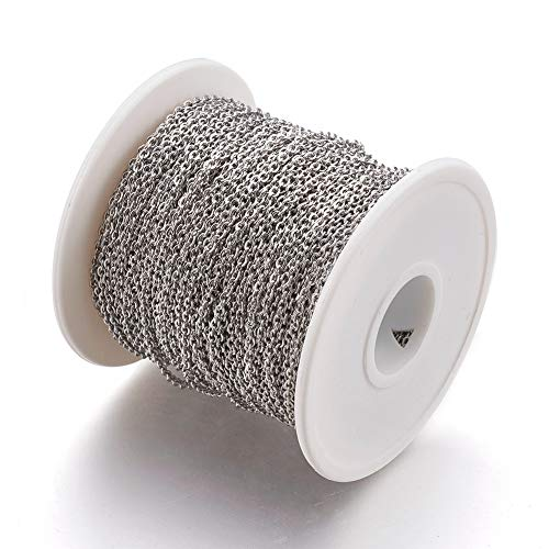 Pandahall 1 Roll 50m/164ft/54yards 304 Stainless Steel Curb Cable Chain Twist Cross Necklace Chain Soldered Bracelet Link Finding 3x2x0.5mm for Jewelry Making
