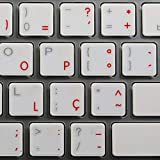 4Keyboard Apple Portuguese Stickers for Keyboard with RED Lettering Transparent Background for Desktop, Laptop and Notebook
