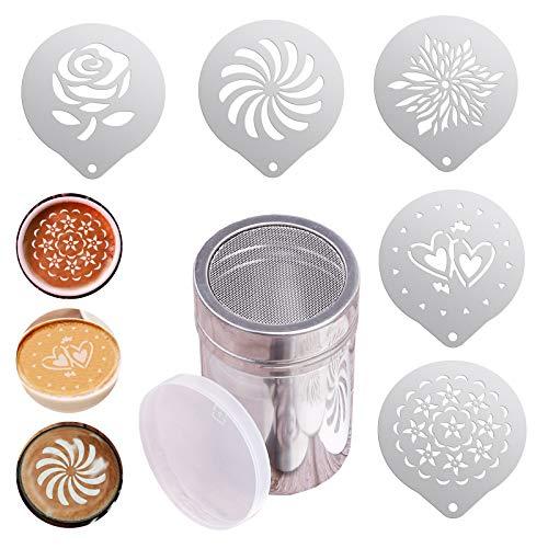 5 plantillas de cafe de acero inoxidable, Barista Coffee Stencils, con latas de Polvo Criba vibradora, para café capuchino latte troqueles de decorar para cocina y hornear