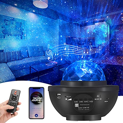 Cali Jade Sternenhimmel Projector mit Fernbedienung 3 Helligkeitsstufen Star Light Protector 360° Drehen Ozean wellenprojektor durch SD Card/USB Musikspieler für Party Weihnachten Ostern