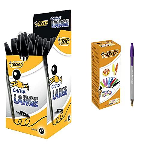 BIC Cristal Large bolígrafos Punta Gruesa (1,6 mm) - Negro, Caja de 50 unidades + Multicolor - Caja de 20 bolígrafos, fashion y regulares