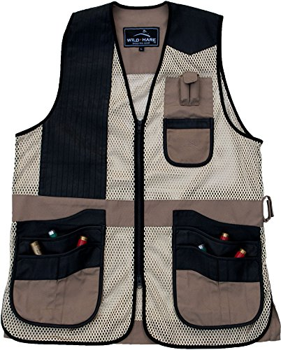 Wild Hare Shooting Gear Range Vest - Khaki with Black Leather (3XL, Right)