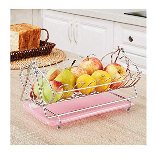 QTQHOME Bols Fruits Iron Art Fruit Basket Storage Bowl,Living Room Storage Dried Fruit Holder (Couleur:Rose)
