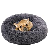 NOYAL Donut Dog Cat Bed, Soft Plush Pet Cushion, Waterproof Machine Washable Self-Warming Pet Bed - Improved Sleep for Cats Small Medium Dogs (Dark Gray, S)