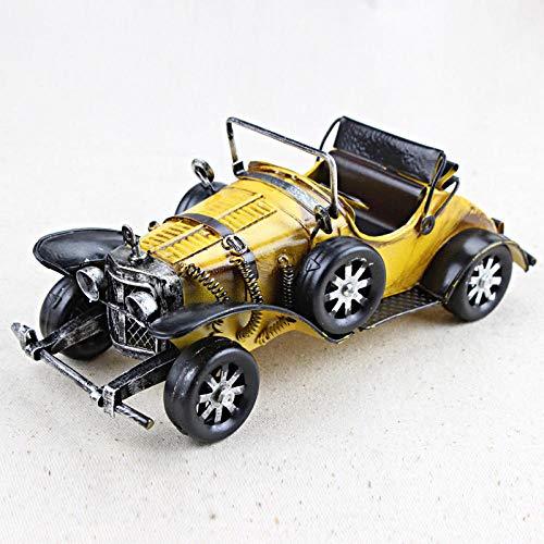 Ayhuir Vintage hecho a mano clásico modelo de coche adornos hierro artesanía vehículo figuras retro coche miniatura bar muebles niños juguetes regalos amarillo