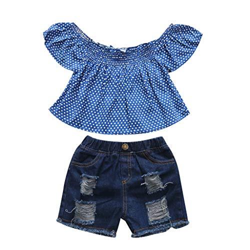 Julhold Ensemble haut et short en jean pour bébé fille et enfant de 1 à 5 ans. - Bleu - 18-24 mois
