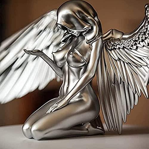 アートエンジェル女性の女性羽をひざまずいたクローク帽子裸のヌードセクシーな人間ボディシルバー樹脂、3 d天使アート像の装飾、贖いの天使クレスト、屋外屋内彫刻の装飾ギフト