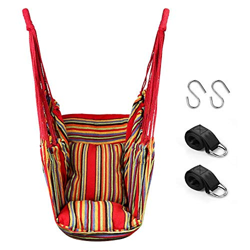 QF Hammock Chair Swing Hanging Hammock Chair with 2 Cushions, Hammock Swing Seat Cotton for Patio, Porch, Bedroom, Backyard, Indoor or Outdoor (Red)