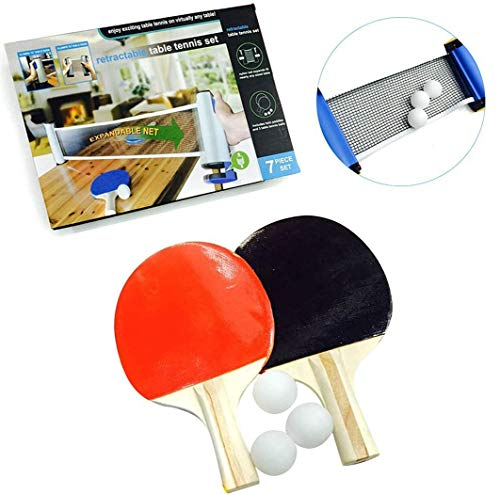Lowest Prices! Ping Pong Paddle Set with Retractable Net - 2 Table Tennis Rackets -3 Balls for Any D...