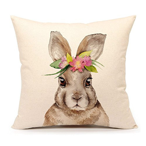 4TH Emotion Easter Rabbit Throw Pillow Case Cushion Cover Spring Home Decoration Cotton Linen 18 x 18 Inch(Bunny)