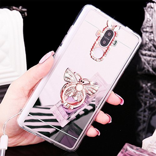 EUWLY Spiegel Schutzhülle für [Samsung Galaxy S4], Diamant Luxus Kristall Strass Glitzer [mit 360 Grad Drehbaren Ring Ständer Halter Halterung] Spiegel Glänzend Bling Überzug Farbig Mirror Case Cry