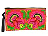 Floral Embroidered Boho Clutch - Handmade Hmong Purse - Hill Tribe Ethnic Cotton Wristlet - 11.5 Inch (Petunia Tangerine Scarlet)