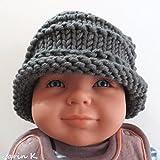 BABY- Mütze in Titangrau, gestrickt aus Schurwolle und Acryl