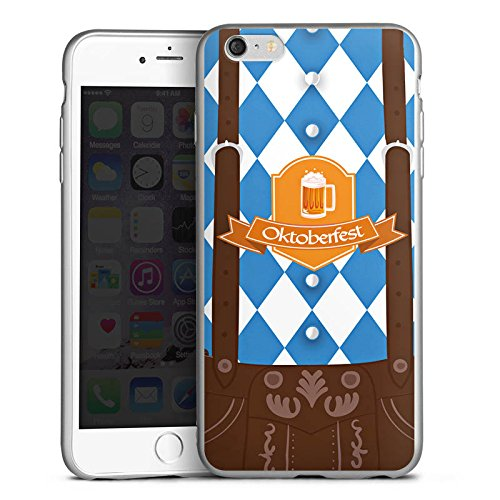 DeinDesign Cover kompatibel mit Apple iPhone 6s Plus Silikon Hülle Silber Case Schutzhülle Oktoberfest Lederhose Bier