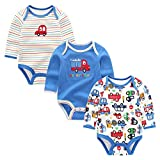 Kiddiezoom Baby-Strampler für Mädchen und Jungen, aus Baumwolle, niedlicher Einteiler, 3er-Pack Gr. 6-9 Monate, Farbenfroher LKW