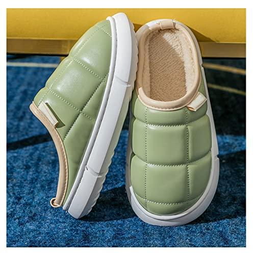 gaoxiao Zapatillas de Casa Mujer Invierno Hombre Cómodo Forro de Felpa Cálido Pantuflas Antideslizante Impermeable Cuero PU Regalo Zapatos para Interiores y Exteriores (Size:40-41,Color:Verde)