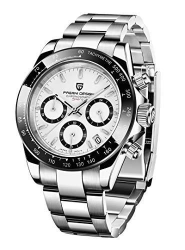 Pagani Design Japan Movement Stainless Steel Waterproof Quartz Men Watches,Fashion Business Casual Men's Watches(White)