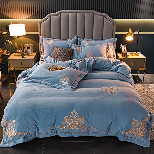 Funda nordica franela,Antiestático engrosamiento bebé terciopelo terciopelo coral terciopelo de cristal de cuatro piezas más terciopelo funda nórdica de leche ropa de cama de franela-Azul_2.0 cama