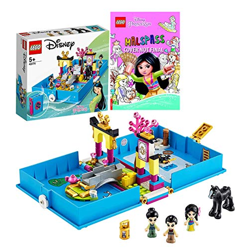 Legoo Disney Princess Set: 43174 - Mulan Märchenbuch + Disney Prinzessin™ Malspaß, ab 5 Jahren