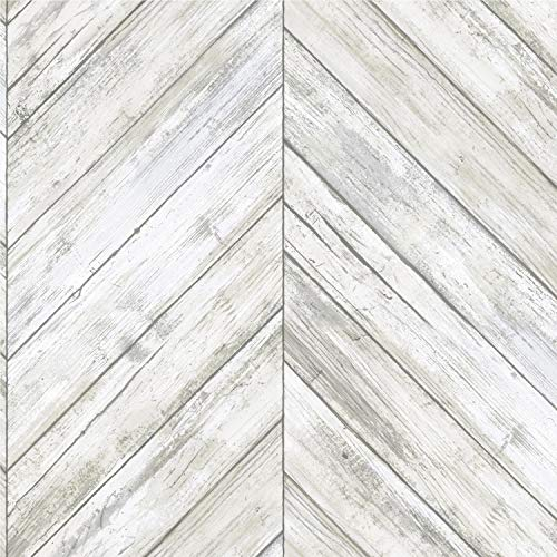 Roommates Herringbone White & Tan Wood Boards Peel and Stick Wallpaper | Removable Wallpaper | Self Adhesive Wallpaper