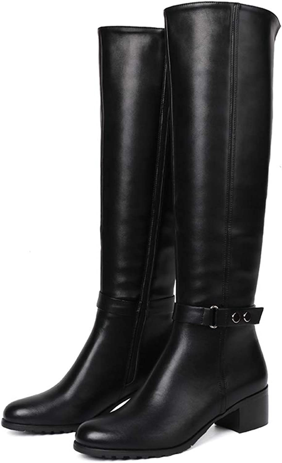 Knee High Winter Fur Boots Over The Knee Women Boot Soft Leather Zipper Ladies Thigh High Spring Warm shoes