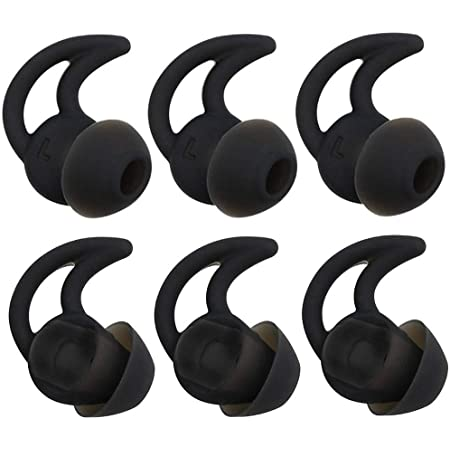 Replacement Noise Isolation Silicone Ear Tips 3-Pairs Large Earbuds for Bose Earphone Earbuds Compatible with Bose QC20 QuietControl 20 QC30 SIE2 IE3 Soundsport Free Wireless Headphones, Black