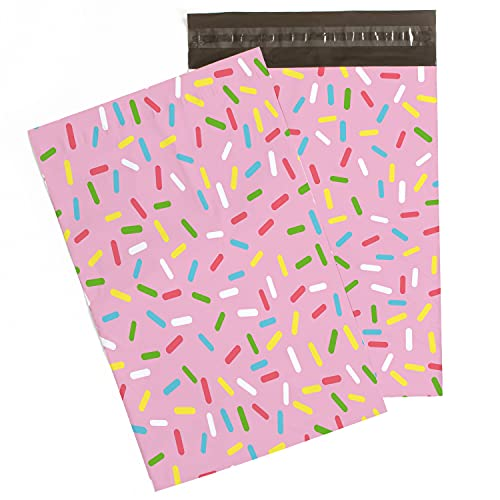 Sprinkles Poly Mailers 10x13 (100 Pack, Size 4) – Cute Sprinkles Poly Envelopes w/ Self Seal Adhesive Strip – Pink Donut Sprinkle Mailers 10x13 – Cute Shipping Bags For Small Business