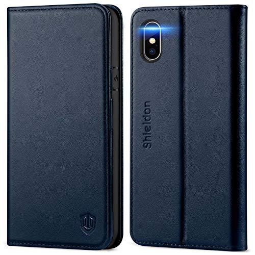SHIELDON iPhone XS Hülle, Handyhülle [Echtes Rindsleder] [Schützt vor Stößen] [Kabelloses Laden] [Auto Sleep/Wake], RFID TPU Schutzhülle Kartenfach Magnet Hülle Kompatibel für iPhone XS 5,8 Marineblau