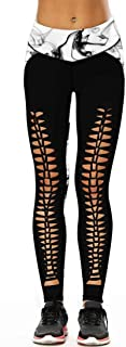 Enggras Womens Ripped Sport Leggings 3D Galaxy Digital Printed Workout Fitness Stretch Tights
