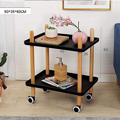 ZXL Bijzettafel met sofawielen, Bijzettafel voor woonkamer met bijzettafel, Trolley met alleskundige wielen voor nachtkastje, 2 kleuren (Kleur: Zwart-1001, Maat: Rond)