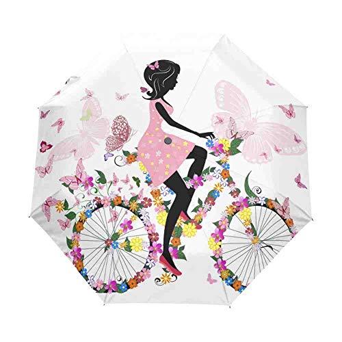 QNBD Chica En Bicicleta con Un Mariposas Románticas Mujeres Paraguas Tres Paraguas...