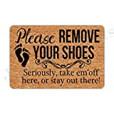 Joelmat Please Remove Your Shoes Seriously Take Em'Off Here Or Stay Out There Entrance Non-Slip Indoor Rubber Door Mats for Front Door/Bathroom/Garden/Kitchen/Bedroom 23.6'x 15.7'