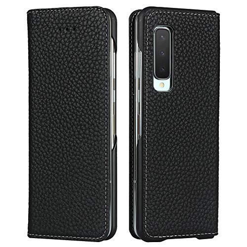 Miimall für Samsung Galaxy Fold 5G/Fold 4G Hülle, Genuine Leder Klapphülle mit Kartensteckplätze Magnetschnalle Stehende Funktion Schutzhülle für Samsung Galaxy Fold 5G/Fold 4G/W20 5G - Schwarz