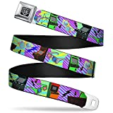Buckle-Down Seatbelt Belt - Eighties Arcade Multi Neon Stripes - 1.5' Wide - 24-38 Inches in Length