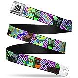 Buckle-Down Seatbelt Belt - Eighties Arcade Multi Neon Stripes - 1.5' Wide - 32-52 Inches in Length