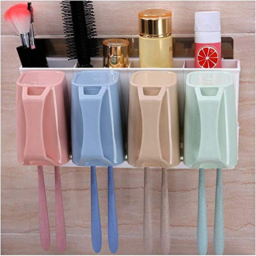 Toothbrush Holder Pickup-Water-Plate Toothbrush Holder Toothpaste Stand Razor Rack Hanging with Suction Cup Wall Mounted Hook Up Slot Family Bathroom Vanity Countertop MUMUJIN