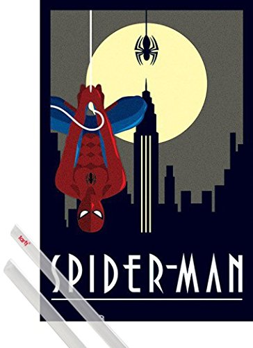 Póster y soporte fácilmente modificable diseño 1art1 1 Spider-Man, Colgado Hacia Abajo, Marvel Comics Póster, dimensiones aprox. 91x61 cm 1 Lote de varillas para pósteres 1art1 Productos de marca de gran calidad