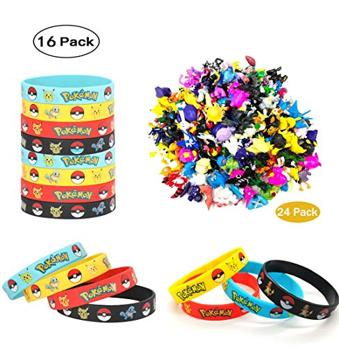 Funmo - 24 pièces Pokémon Mini Figures Action Figurines + 16 pièces Pokémon Bracelets Enfants et Adultes Party Celebration