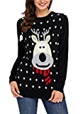 Sidefeel Women Knited Holiday Pullover Christmas Cute Reindeer Sweater Large Black